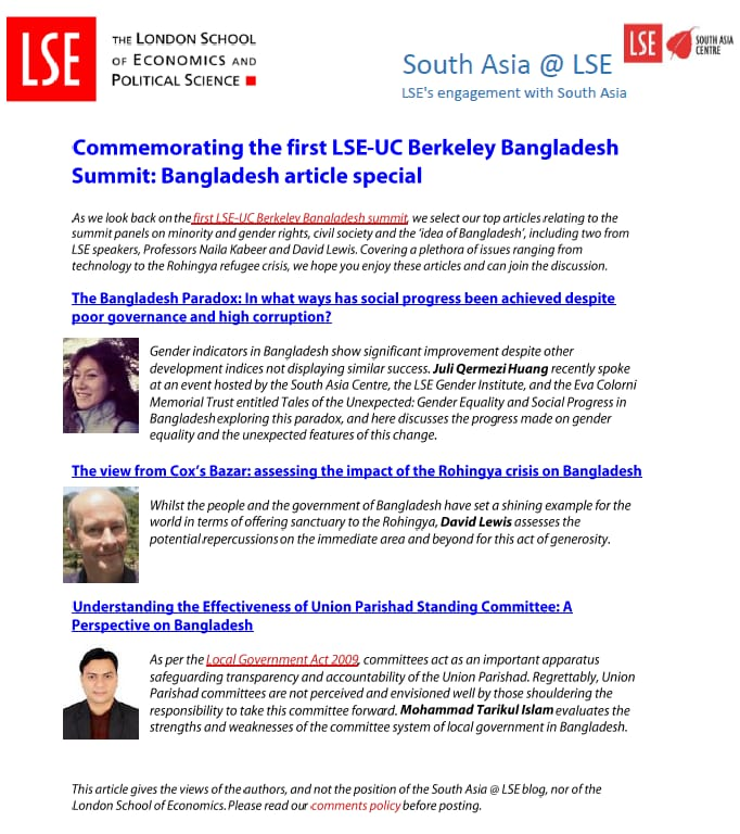 Research paper of Dr.Tarik was among top three ahead of Bangladesh Summit held in LSE, London